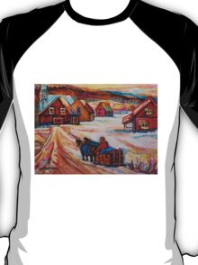 BEAUTIFUL PAINTINGS OF CANADA LOGGER WITH SLED CHARMING QUEBEC WINTER SCENE CAROLE SPANDAU T-Shirt