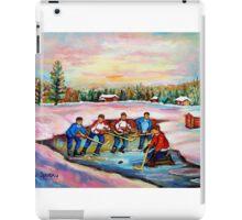 POND HOCKEY ON FROZEN LAKE CANADIAN WINTER SCENES PAINTING CAROLE SPANDAU iPad Case/Skin