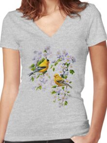 Goldfinches and Blossoms Women's Fitted V-Neck T-Shirt