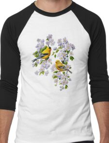 Goldfinches and Blossoms Men's Baseball ¾ T-Shirt