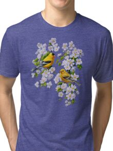Goldfinches and Blossoms Tri-blend T-Shirt