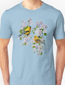 Goldfinches and Blossoms Unisex T-Shirt