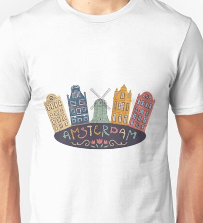 Amsterdam. Old historic buildings and traditional architecture of Netherlands. Windmill and houses with hand drawn lettering. Unisex T-Shirt