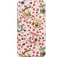 Cute Owls Floral Seamless Pattern. iPhone Case/Skin
