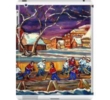 LATE NIGHT POND HOCKEY GAME BEAUTIFUL PAINTINGS OF CANADIAN WINTER SCENES BY CANADIAN ARTIST CAROLE SPANDAU iPad Case/Skin