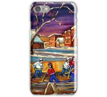 LATE NIGHT POND HOCKEY GAME BEAUTIFUL PAINTINGS OF CANADIAN WINTER SCENES BY CANADIAN ARTIST CAROLE SPANDAU iPhone Case/Skin