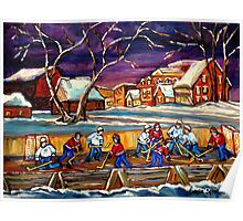 LATE NIGHT POND HOCKEY GAME BEAUTIFUL PAINTINGS OF CANADIAN WINTER SCENES BY CANADIAN ARTIST CAROLE SPANDAU Poster