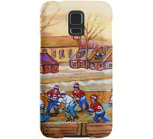 HOCKEY GAME IN THE VILLAGE CANADIAN WINTER SCENE PAINTING BY CANADIAN ARTIST CAROLE SPANDAU Samsung Galaxy Case/Skin