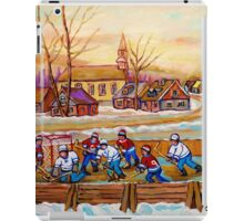 HOCKEY GAME IN THE VILLAGE CANADIAN WINTER SCENE PAINTING BY CANADIAN ARTIST CAROLE SPANDAU iPad Case/Skin