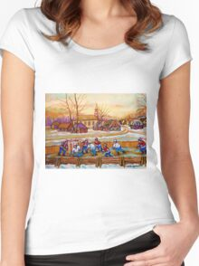 HOCKEY GAME IN THE VILLAGE CANADIAN WINTER SCENE PAINTING BY CANADIAN ARTIST CAROLE SPANDAU Women's Fitted Scoop T-Shirt