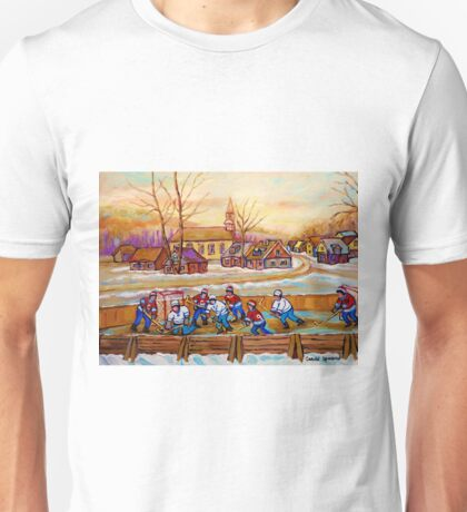 HOCKEY GAME IN THE VILLAGE CANADIAN WINTER SCENE PAINTING BY CANADIAN ARTIST CAROLE SPANDAU Unisex T-Shirt