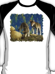 Anybody Home? - Wolf Pup Painting T-Shirt