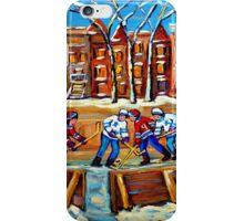 CANADIAN ART URBAN LANDSCAPE PAINTING HOCKEY WINTER SCENE BY CANADIAN ARTIST CAROLE SPANDAU iPhone Case/Skin