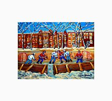 CANADIAN ART URBAN LANDSCAPE PAINTING HOCKEY WINTER SCENE BY CANADIAN ARTIST CAROLE SPANDAU Unisex T-Shirt