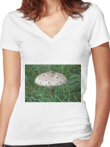 The Parasol mushroom Women's Fitted V-Neck T-Shirt