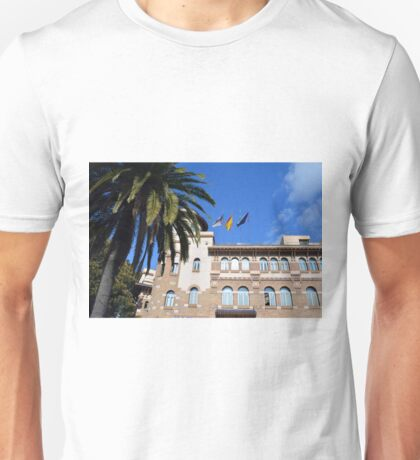 Beautiful decorative brick architecture with palm trees from Malaga, Spain Unisex T-Shirt
