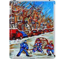 STREET HOCKEY ART CANADIAN PAINTINGS BY CANADIAN ARTIST CAROLE SPANDAU iPad Case/Skin