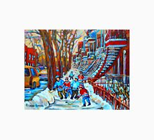 BEAUTIFUL CANADIAN WINTER STREET SCENES HOCKEY NEAR WINDING STAIRCASES CAROLE SPANDAU T-Shirt