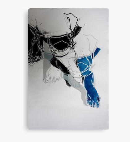 Crossed legs blue Canvas Print