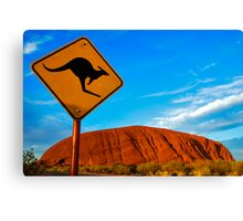 Uluru and a Kangaroo Canvas Print