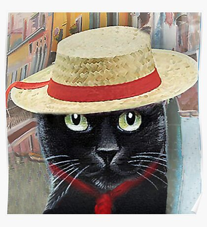 Venetian Gondolier Cat Art Poster