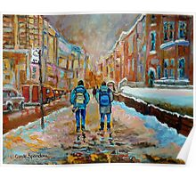 CANADIAN CITYSCAPE PAINTING WALKING TO MCGILL UNIVERSITY BY CANADIAN ARTIST CAROLE SPANDAU Poster