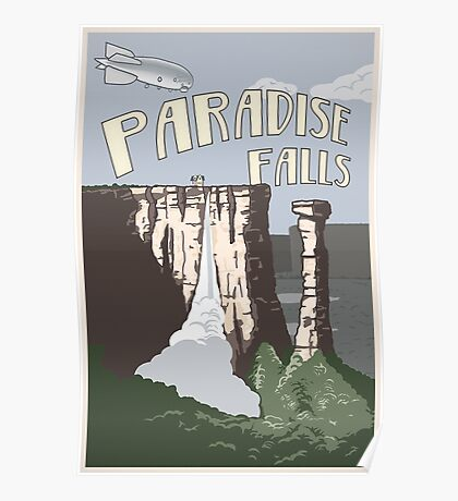 Paradise Falls Travel Poster - Vintage Poster