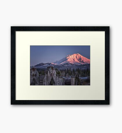A New Day at an Old Site concrete ruins at the base of Mt. Shasta Framed Print