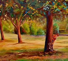 CANADIAN PARK SCENES CHARMING URBAN SCENE BY CANADIAN ARTIST CAROLE SPANDAU by Carole  Spandau