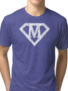 M letter in Superman style Tri-blend T-Shirt