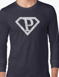 P letter in Superman style Long Sleeve T-Shirt