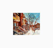 MONTREAL ART WINDING STAIRCASES CANADIAN WINTER SCENES BY CANADIAN ARTIST CAROLE SPANDAU Unisex T-Shirt
