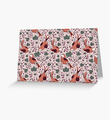 Vintage Style Bird Berries Pattern.  Greeting Card