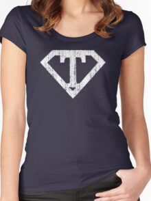 T letter in Superman style Women's Fitted Scoop T-Shirt