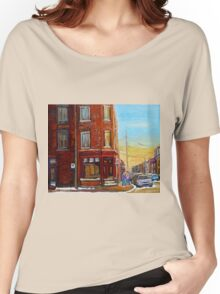 CANADIAN ARCHITECTURE MONTREAL CITY SCENES PAINTINGS BY CANADIAN ARTIST CAROLE SPANDAU Women's Relaxed Fit T-Shirt