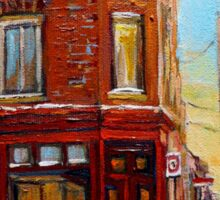 CANADIAN ARCHITECTURE MONTREAL CITY SCENES PAINTINGS BY CANADIAN ARTIST CAROLE SPANDAU Sticker