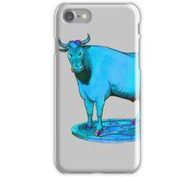 Blue bull graphic design iPhone Case/Skin