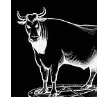 Black and white bull graphic design by tanabe