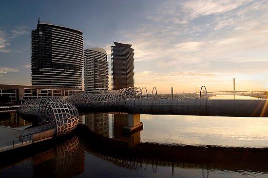 Webb Bridge at sunset by Enrico Bettesworth