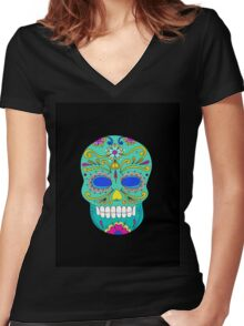 Sugar skull mexican folk art Women's Fitted V-Neck T-Shirt
