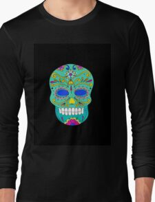 Sugar skull mexican folk art Long Sleeve T-Shirt