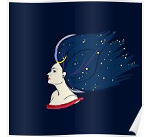 Blue-haired girl-night Poster