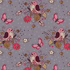 Bird Butterfly Floral Pattern. by Kimazo