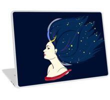 Blue-haired girl-night Laptop Skin