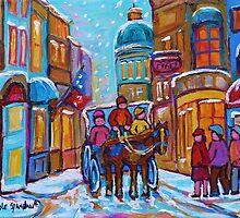 OLD MONTREAL WINTER CITY SCENES CANADIAN ARTIST CAROLE SPANDAU by Carole  Spandau