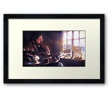 Folk Singer with a Cat Framed Print