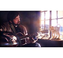 Folk Singer with a Cat Photographic Print