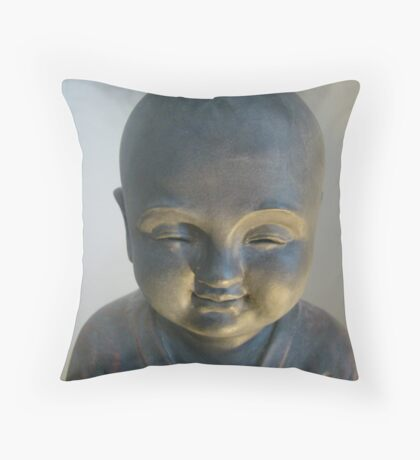 Monk Statue Smile Throw Pillow
