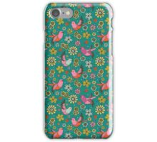 Doodle Birds Floral Pattern iPhone Case/Skin