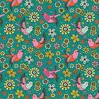 Doodle Birds Floral Pattern by Kimazo